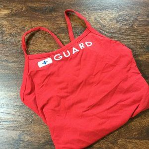 "SPEEDO ""Lifeguard"" Graphic Fly Back Red One Piece"